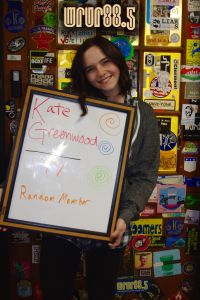 Kate (WRUR-TV) in front of the Sticker Door