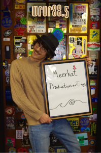 David (aka Meerkat) (Productions) in front of the Sticker door
