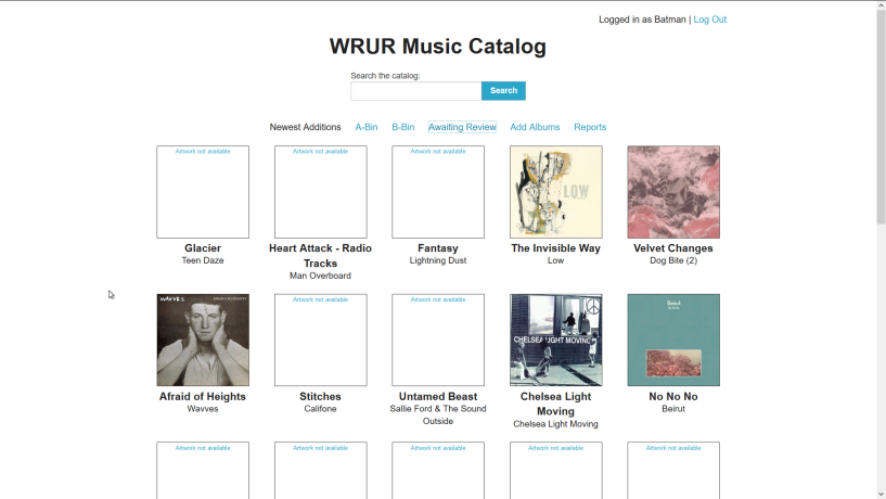 music catalog home view