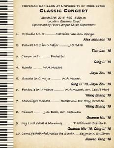 Classical Carillon Concert Program